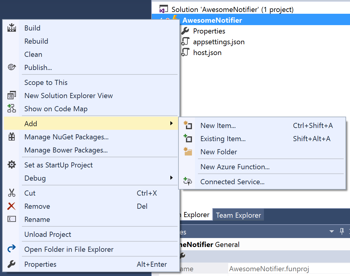 Add new Azure Function